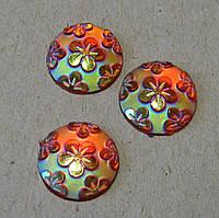 Стразы клеевые. Круг с цветами, 12 мм