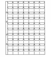 Лист для монет 200х250мм на 70 комірок (24х25мм)