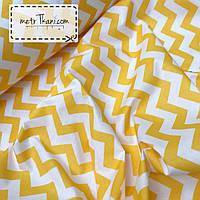 Ткань хлопок желто-оранжевый зигзаг  №132