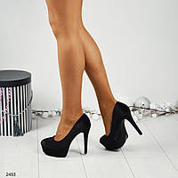 Женские черные туфли на высокой платформе