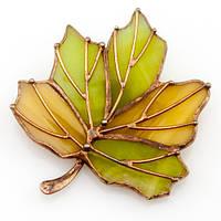 Брошь Кленовый лист, стекло, хендмейд, Украина