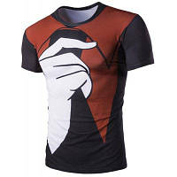 Пуловер цвет блока Палец Печатный футболки для мужчин XL
