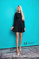 Женское приталенное платье из замша с длинным рукавом цвета графит