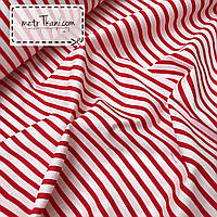 Ткань хлопковая красная полоска 135г/м2 № 77