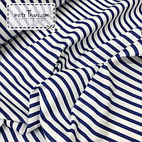 Ткань хлопковая с синей широкой полоской №307