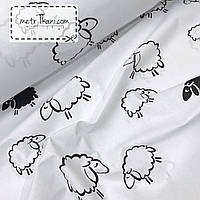 Бязь с черные овечкина белом фоне №241