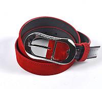 Женский стильный кожаный ремень (красный)
