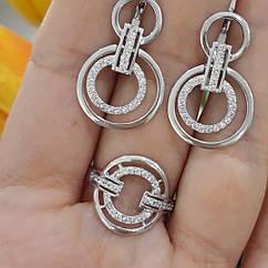Серебряный комплект: кольцо и серьги родированное серебро