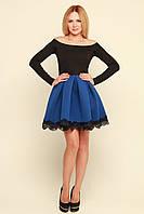 Красивое платье юбка неопрен с кружевом Мерло электрик