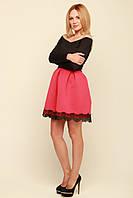 Красивое платье юбка неопрен с кружевом Мерло коралл