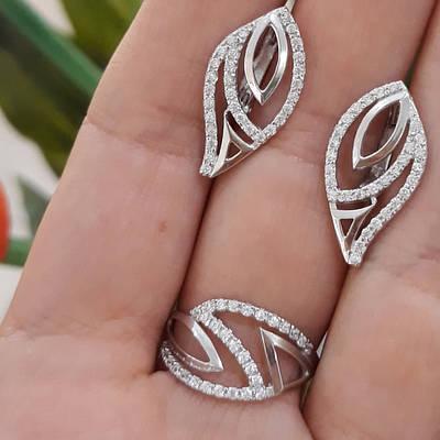 Серебряный комплект серьги и кольцо с камнями, покрытие родий