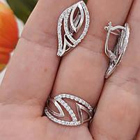 Серебряный комплект серьги и кольцо с камнями, покрытие родий, фото 2
