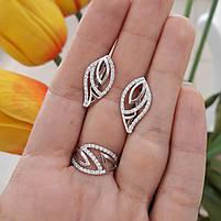 Серебряный комплект серьги и кольцо с камнями, покрытие родий, фото 4
