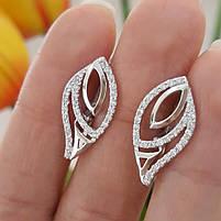 Серебряный комплект серьги и кольцо с камнями, покрытие родий, фото 3