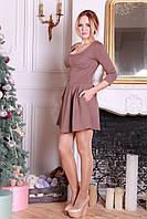Коричневое короткое платье с карманами Фрида