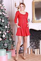 Красное короткое платье с карманами Фрида