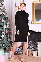 Черное облегающее платье под горло Грави