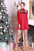 Нарядное женское платье а-силуэта Ленто малиновое