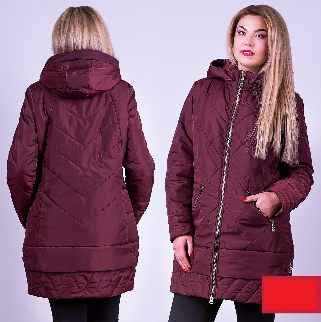 Демисезонная куртка 52-58р бордо