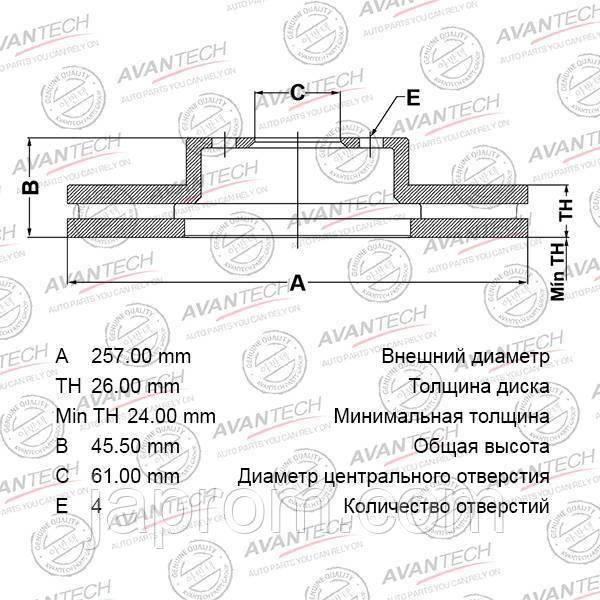 Тормозной диск передний Nissan Almera N15,Nissan Sunny N14 1995-2000г.в. 257мм