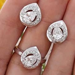 Серебряный комплект кольцо и серьги с камнями, покрытие родий