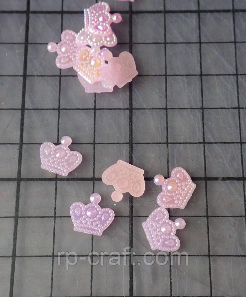 Декор для бантів і скрапбукінгу. Корона, 11х12 мм, блідо-рожева