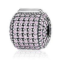"Шарм Pandora Style (стиль Пандора)  ""Розовый бочонок. Стоппер паве"""