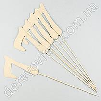 """Топпер для декора """"7"""" золото, 6 шт., 9×38 см"""