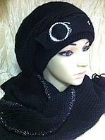 Комплект шарф  и берет чёрного цвета с пояском
