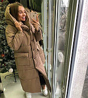 Длинное женское плащевое пальто на зиму теплое 9251