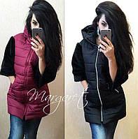 Женская куртка на молнии с искусственным мехом на рукавах 14156