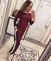 Женский спортивный костюм из стеганного трикотажа с прямыми штанами 115168