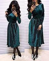 Велюровое платье с плиссированной юбкой длиной миди 53907