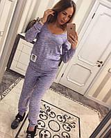 Свободный женский вязаный костюм меланж 110246