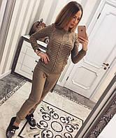 Вязаный костюм женский с узором на кофте 110250
