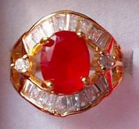 Кольцо натуральный рубин 9 х 7 мм 18 сапфиров Размер 19 Индия