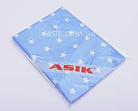 Простынь детская на резинке Asik Белые звёздочки на голубом (5-004)