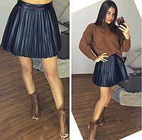 Плиссированная женская юбка из экокожи 6146