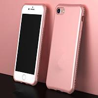 Мягкий TPU розовый чехол с камнями Сваровски для iPhone 6/6s
