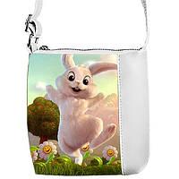 Белая сумка для девочки с принтом Заяц