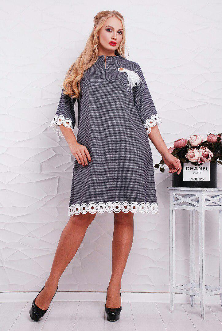 Расклешенное платье больших размеров р-ры 52-60, с украшением на груди    / 2 цвета   арт 3632-163