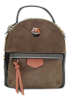 Женский рюкзак-сумка бежево-серого цвета OOP-006545 mini, фото 1