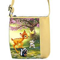 Бежевая сумка для девочки с принтом Бемби