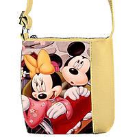 Бежевая сумка для девочки с принтом Мики маус