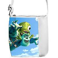 Белая сумка для девочки с принтом Корпорация монстров
