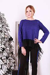 Модная туника с хвостом Довилли синяя люрекс