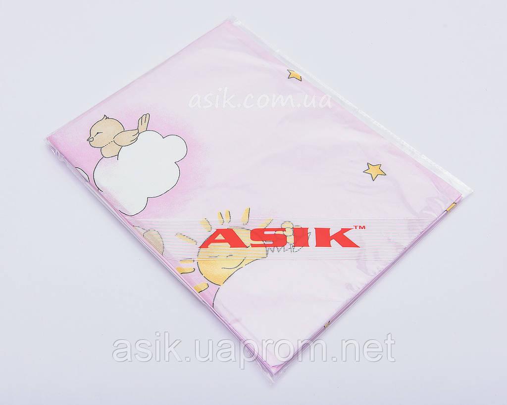 Простынь на резинке в детскую кроватку «Мишки на лестнице» розового цвета