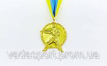 Медаль спортивная с лентой Карате d-5см C-4338 1-золото, 2-серебро, 3-бронза (металл, 29g)