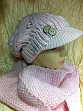 Молодёжный комплект крупной вязки :шарф  и кепка  розового цвета, фото 2
