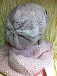 Молодёжный комплект крупной вязки :шарф  и кепка  розового цвета, фото 3